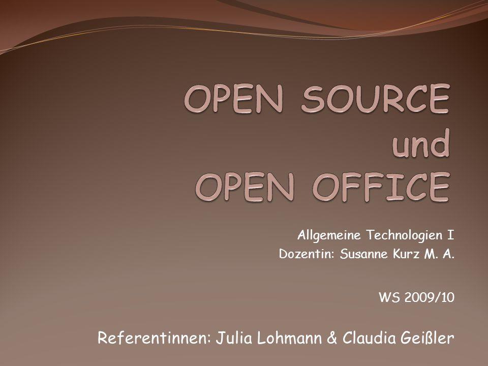 Allgemeine Technologien I Dozentin: Susanne Kurz M.
