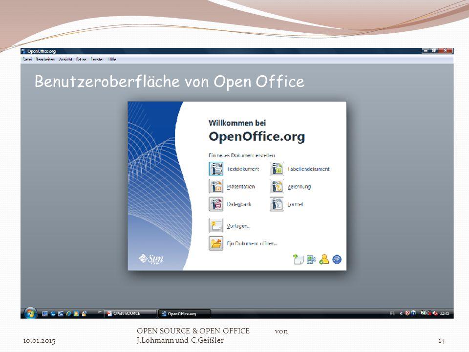 10.01.2015 OPEN SOURCE & OPEN OFFICE von J.Lohmann und C.Geißler14 Benutzeroberfläche von Open Office