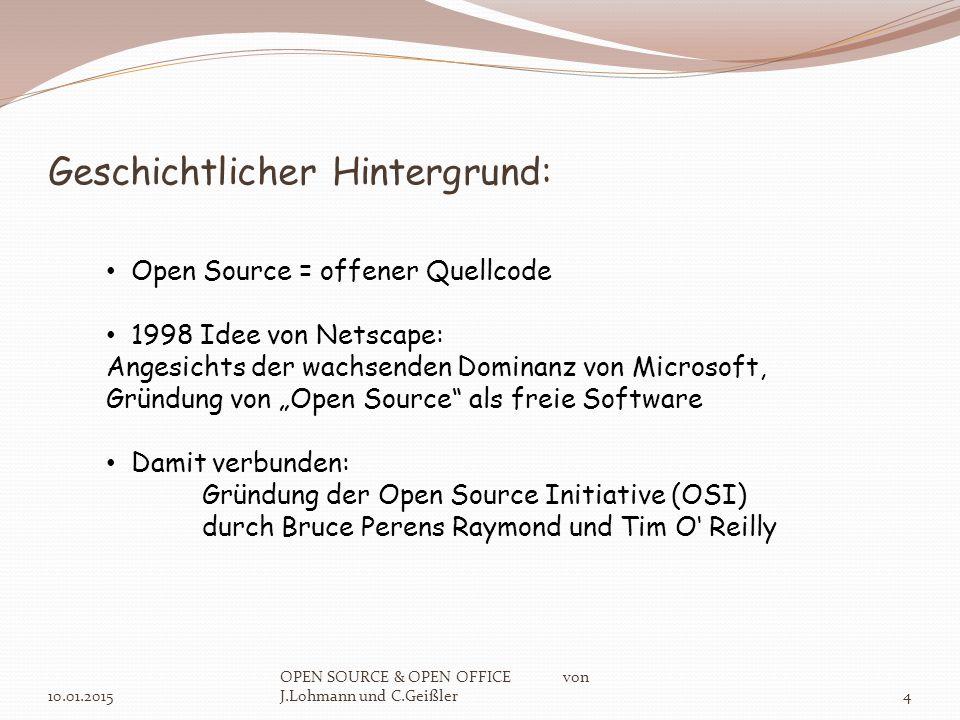 Open Office als tragbare Version: 10.01.2015 OPEN SOURCE & OPEN OFFICE von J.Lohmann und C.Geißler15 portable Version:Größe: ca.
