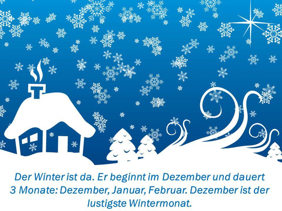 Der Winter ist da. Er beginnt im Dezember und dauert 3 Monate: Dezember, Januar, Februar.