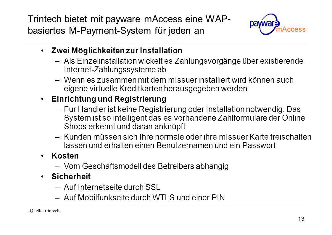 13 Trintech bietet mit payware mAccess eine WAP- basiertes M-Payment-System für jeden an Zwei Möglichkeiten zur Installation –Als Einzelinstallation wickelt es Zahlungsvorgänge über existierende Internet-Zahlungssysteme ab –Wenn es zusammen mit dem mIssuer installiert wird können auch eigene virtuelle Kreditkarten herausgegeben werden Einrichtung und Registrierung –Für Händler ist keine Registrierung oder Installation notwendig.
