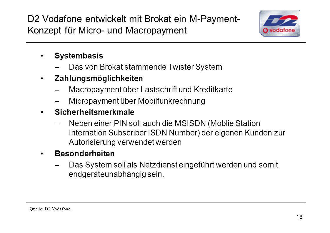 18 D2 Vodafone entwickelt mit Brokat ein M-Payment- Konzept für Micro- und Macropayment Systembasis –Das von Brokat stammende Twister System Zahlungsm