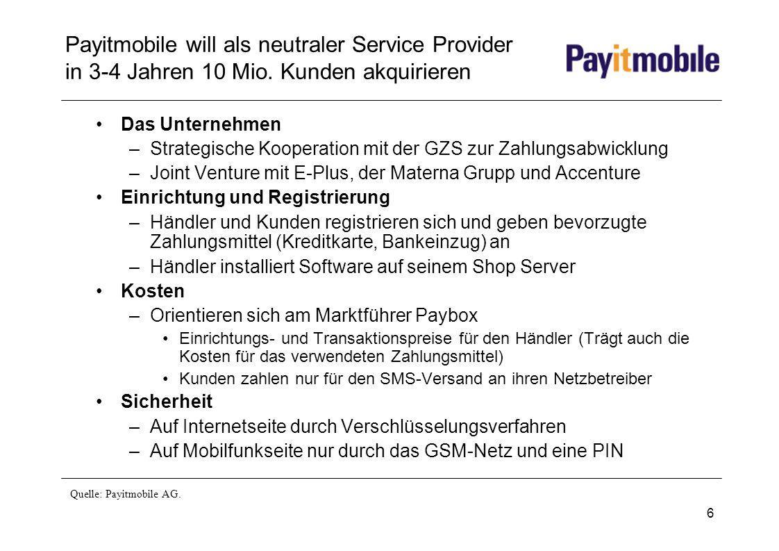 6 Payitmobile will als neutraler Service Provider in 3-4 Jahren 10 Mio. Kunden akquirieren Das Unternehmen –Strategische Kooperation mit der GZS zur Z