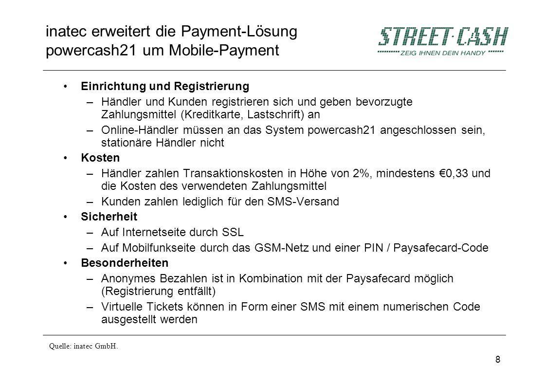 8 inatec erweitert die Payment-Lösung powercash21 um Mobile-Payment Einrichtung und Registrierung –Händler und Kunden registrieren sich und geben bevo