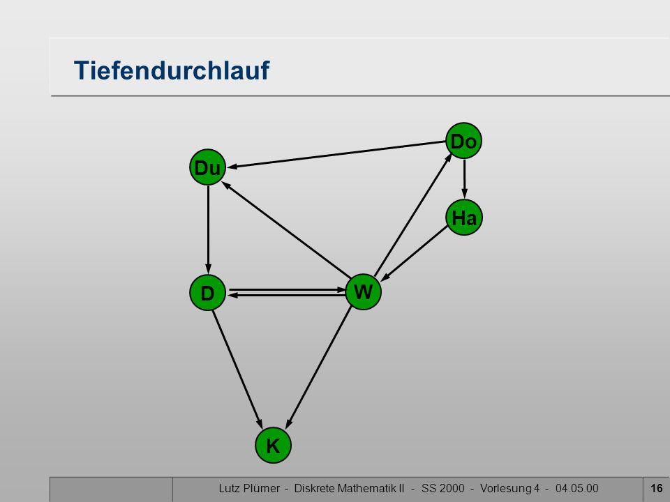 Lutz Plümer - Diskrete Mathematik II - SS 2000 - Vorlesung 4 - 04.05.0016 Tiefendurchlauf Do Ha W Du K D