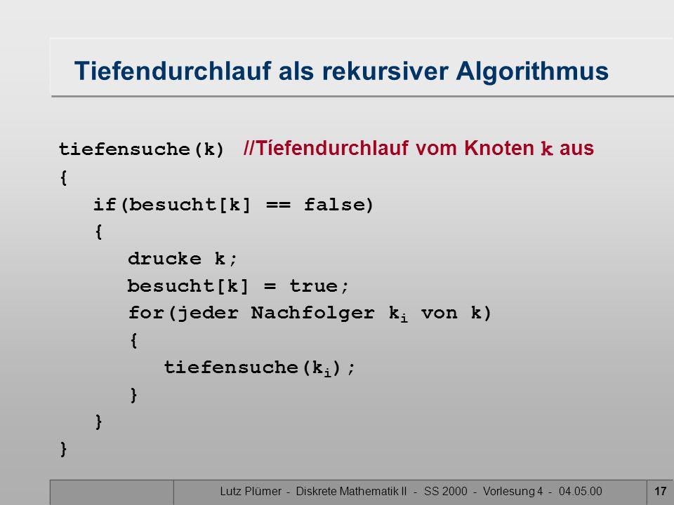 Lutz Plümer - Diskrete Mathematik II - SS 2000 - Vorlesung 4 - 04.05.0017 Tiefendurchlauf als rekursiver Algorithmus tiefensuche(k) //Tíefendurchlauf