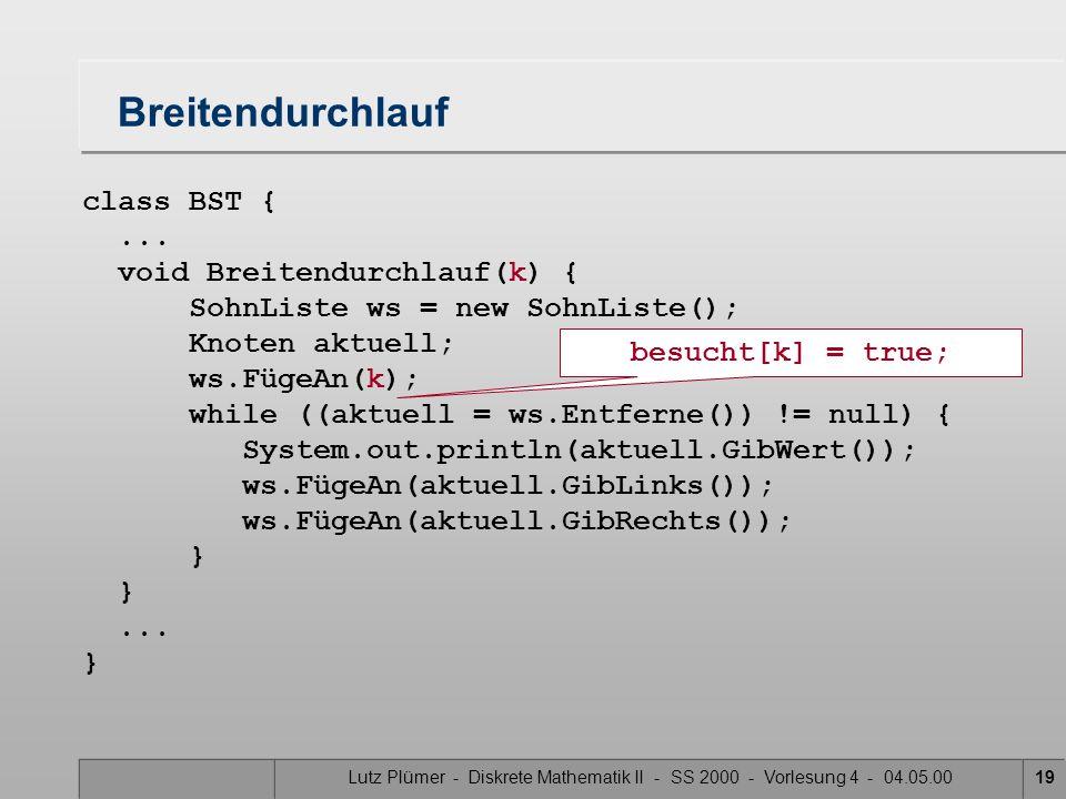 Lutz Plümer - Diskrete Mathematik II - SS 2000 - Vorlesung 4 - 04.05.0019 class BST {... void Breitendurchlauf(k) { SohnListe ws = new SohnListe(); Kn