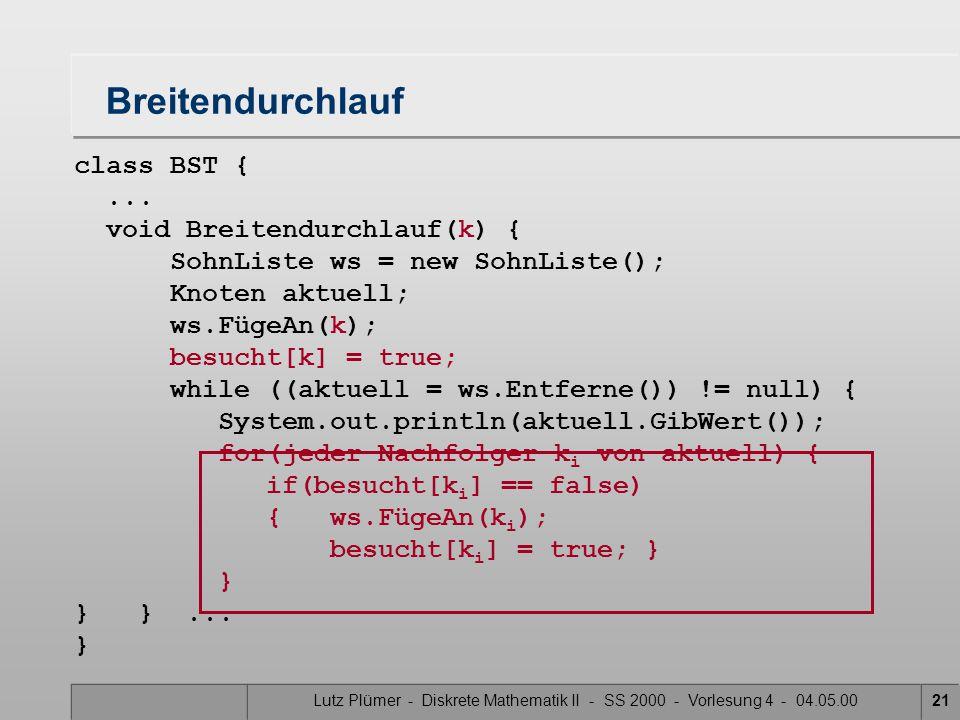 Lutz Plümer - Diskrete Mathematik II - SS 2000 - Vorlesung 4 - 04.05.0021 class BST {... void Breitendurchlauf(k) { SohnListe ws = new SohnListe(); Kn