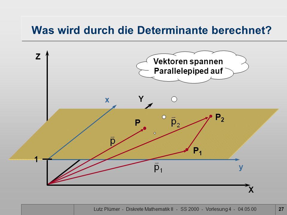 Lutz Plümer - Diskrete Mathematik II - SS 2000 - Vorlesung 4 - 04.05.0027 X Y Z Was wird durch die Determinante berechnet? x y P2P2 P1P1 P Vektoren sp