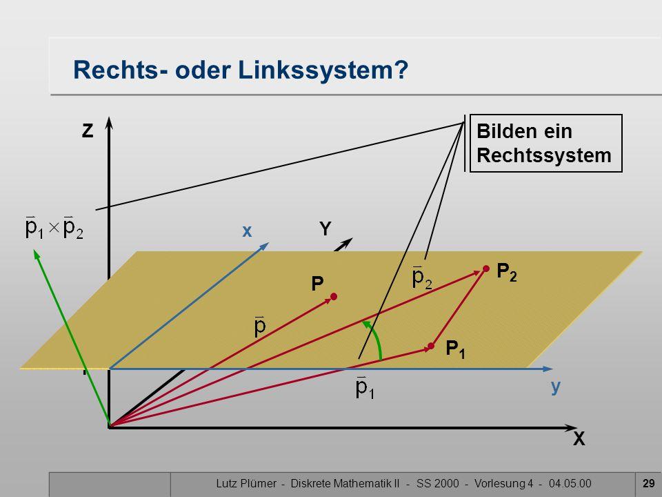 Lutz Plümer - Diskrete Mathematik II - SS 2000 - Vorlesung 4 - 04.05.0029 X Y Z 1 Rechts- oder Linkssystem? P2P2 P1P1 P Bilden ein Rechtssystem x y