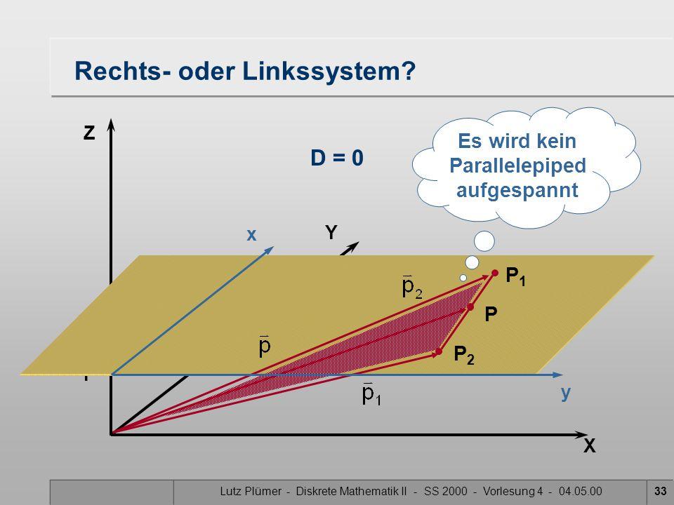 Lutz Plümer - Diskrete Mathematik II - SS 2000 - Vorlesung 4 - 04.05.0033 X Y Z 1 Rechts- oder Linkssystem? D = 0 Es wird kein Parallelepiped aufgespa