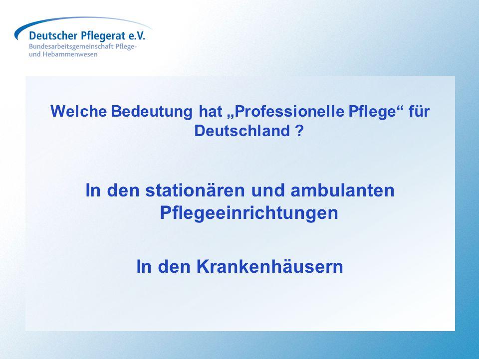 """Welche Bedeutung hat """"Professionelle Pflege"""" für Deutschland ? In den stationären und ambulanten Pflegeeinrichtungen In den Krankenhäusern"""