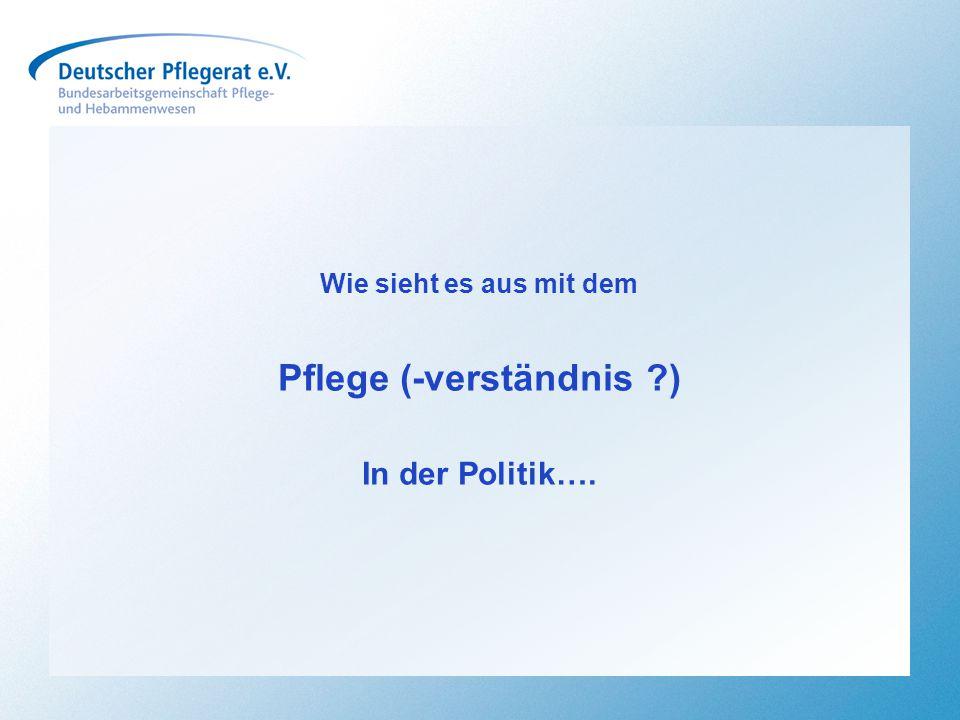 Pflege (-verständnis ?) In der Politik….