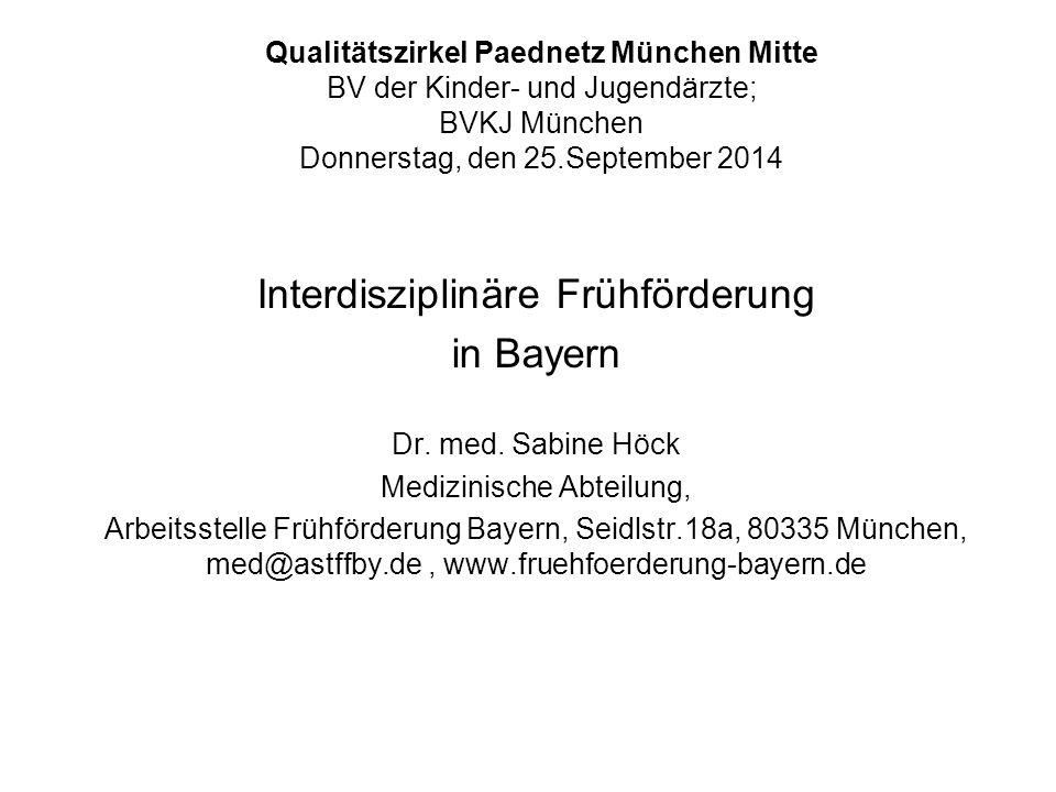 Qualitätszirkel Paednetz München Mitte BV der Kinder- und Jugendärzte; BVKJ München Donnerstag, den 25.September 2014 Interdisziplinäre Frühförderung
