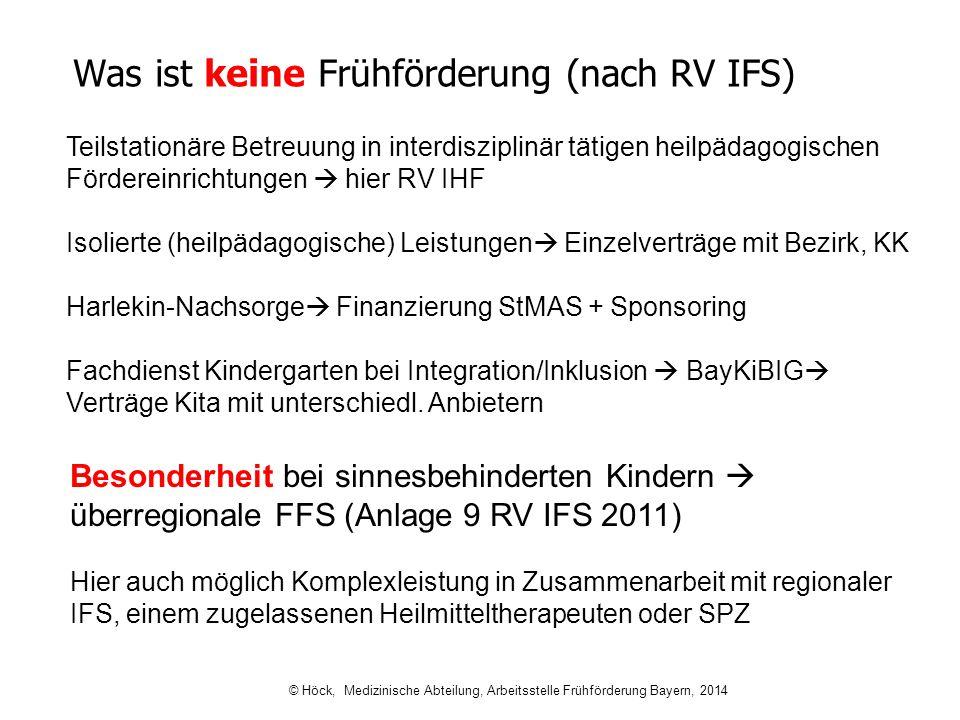Was ist keine Frühförderung (nach RV IFS) Teilstationäre Betreuung in interdisziplinär tätigen heilpädagogischen Fördereinrichtungen  hier RV IHF Iso