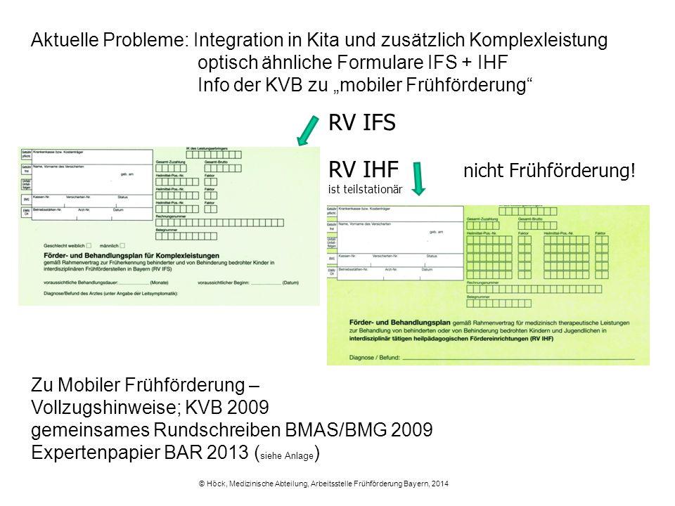 """Aktuelle Probleme: Integration in Kita und zusätzlich Komplexleistung optisch ähnliche Formulare IFS + IHF Info der KVB zu """"mobiler Frühförderung"""" RV"""