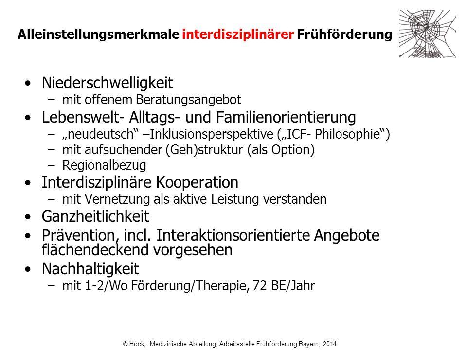 Alleinstellungsmerkmale interdisziplinärer Frühförderung Niederschwelligkeit –mit offenem Beratungsangebot Lebenswelt- Alltags- und Familienorientieru