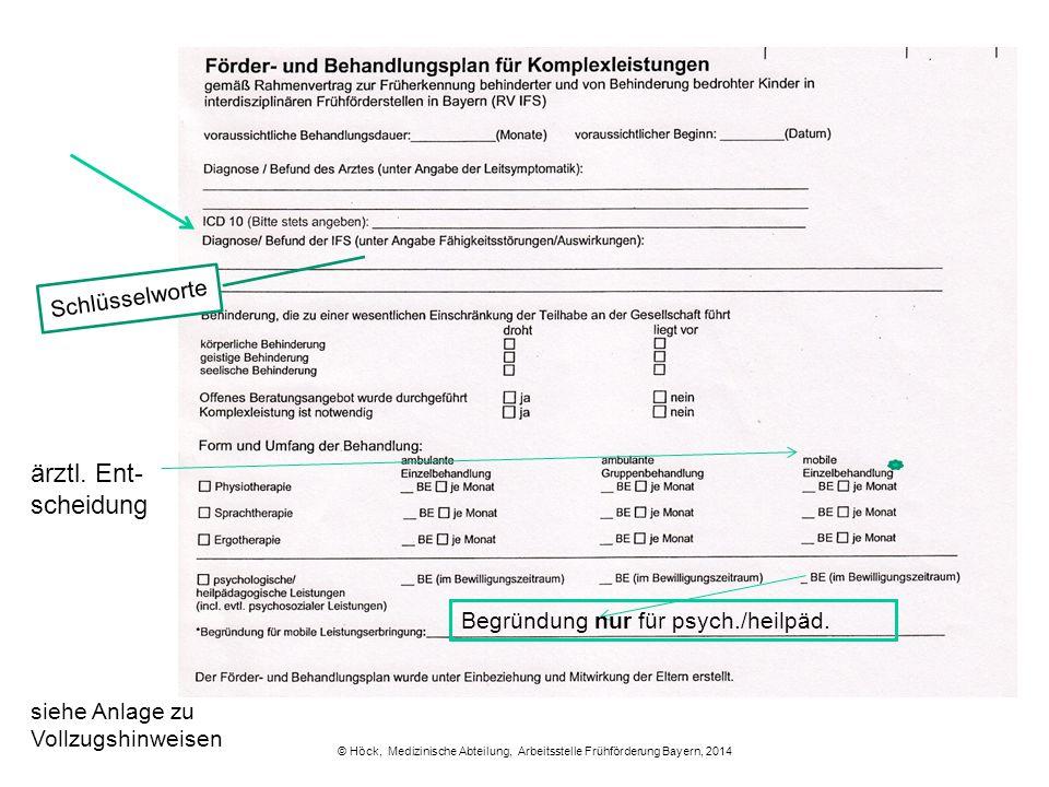 © Höck, Medizinische Abteilung, Arbeitsstelle Frühförderung Bayern, 2014 Schlüsselworte Begründung nur für psych./heilpäd. siehe Anlage zu Vollzugshin