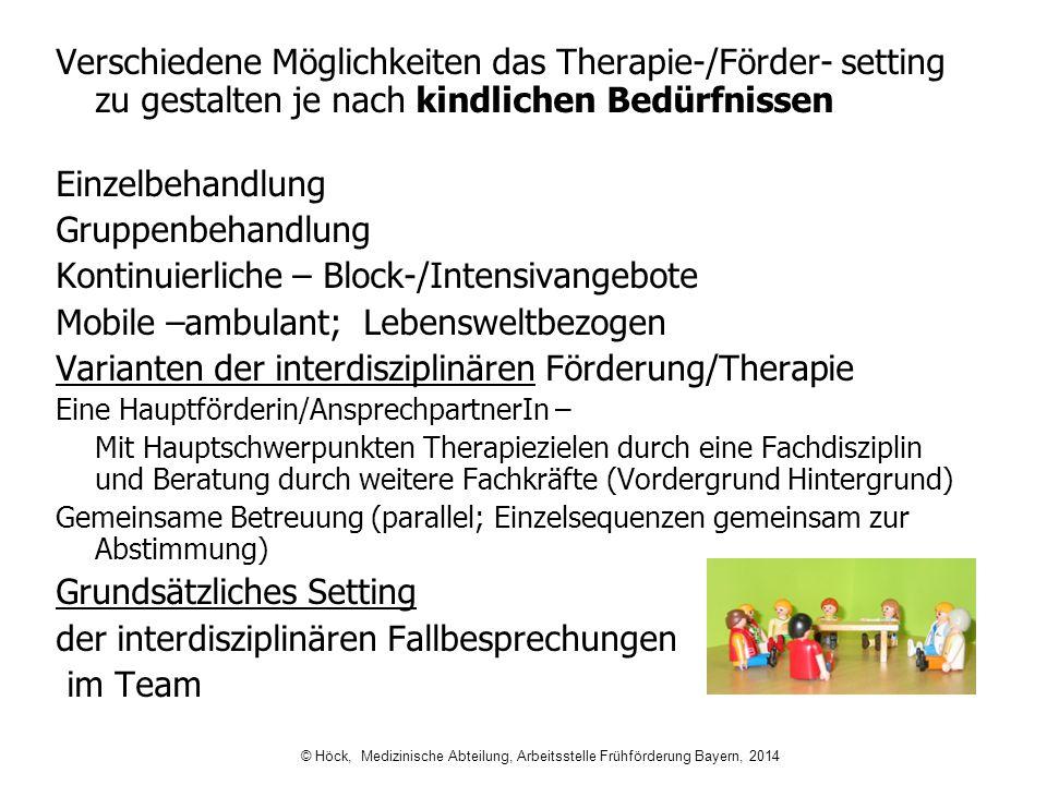 Verschiedene Möglichkeiten das Therapie-/Förder- setting zu gestalten je nach kindlichen Bedürfnissen Einzelbehandlung Gruppenbehandlung Kontinuierlic