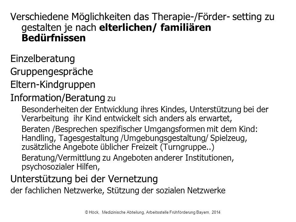 Verschiedene Möglichkeiten das Therapie-/Förder- setting zu gestalten je nach elterlichen/ familiären Bedürfnissen Einzelberatung Gruppengespräche Elt