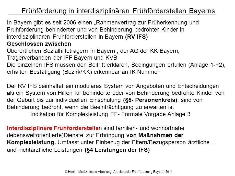 """Frühförderung in interdisziplinären Frühförderstellen Bayerns In Bayern gibt es seit 2006 einen """"Rahmenvertrag zur Früherkennung und Frühförderung beh"""
