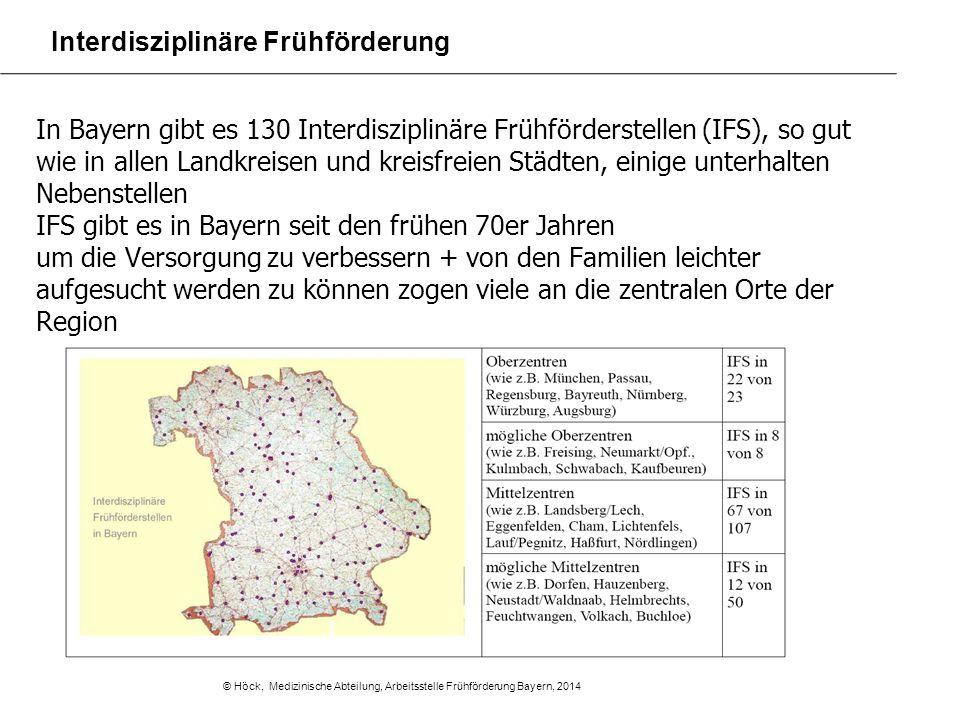 In Bayern gibt es 130 Interdisziplinäre Frühförderstellen (IFS), so gut wie in allen Landkreisen und kreisfreien Städten, einige unterhalten Nebenstel