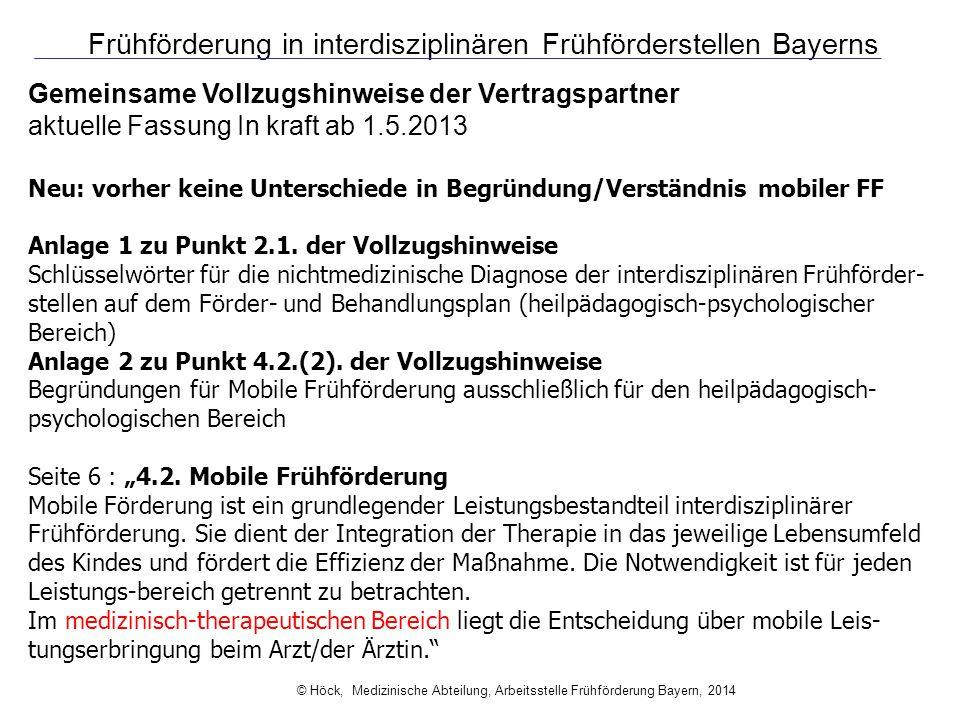 Frühförderung in interdisziplinären Frühförderstellen Bayerns Gemeinsame Vollzugshinweise der Vertragspartner aktuelle Fassung In kraft ab 1.5.2013 Ne