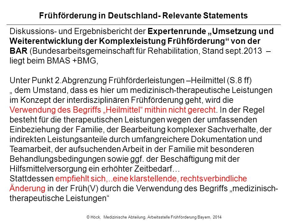 """Frühförderung in Deutschland- Relevante Statements Diskussions- und Ergebnisbericht der Expertenrunde """"Umsetzung und Weiterentwicklung der Komplexleis"""