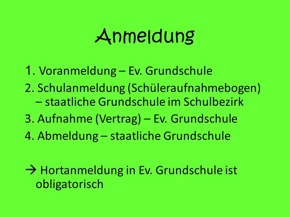 Anmeldung 1.Voranmeldung – Ev. Grundschule 2.