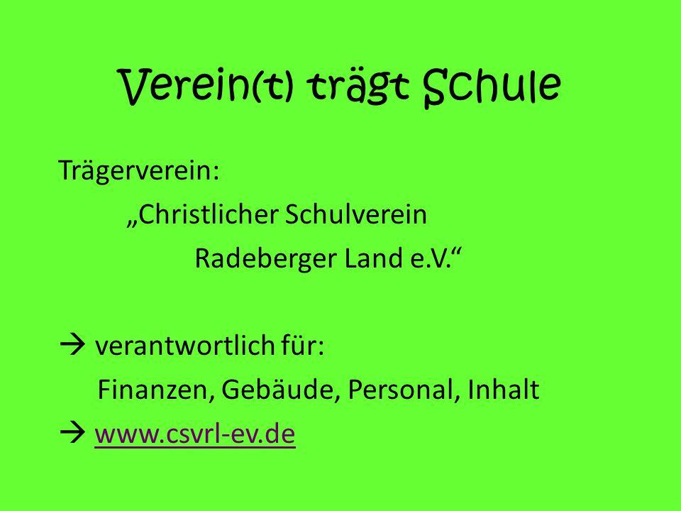 """Verein(t) trägt Schule Trägerverein: """"Christlicher Schulverein Radeberger Land e.V.  verantwortlich für: Finanzen, Gebäude, Personal, Inhalt  www.csvrl-ev.de"""