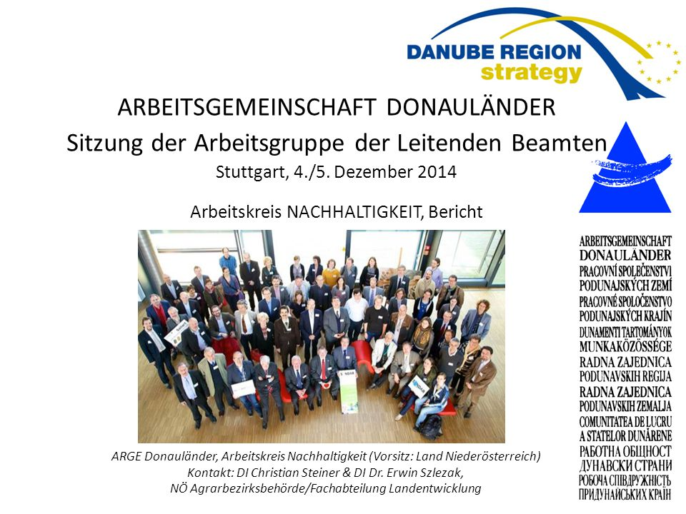 Working Community of the Danube Regions, Working Group on Sustainability