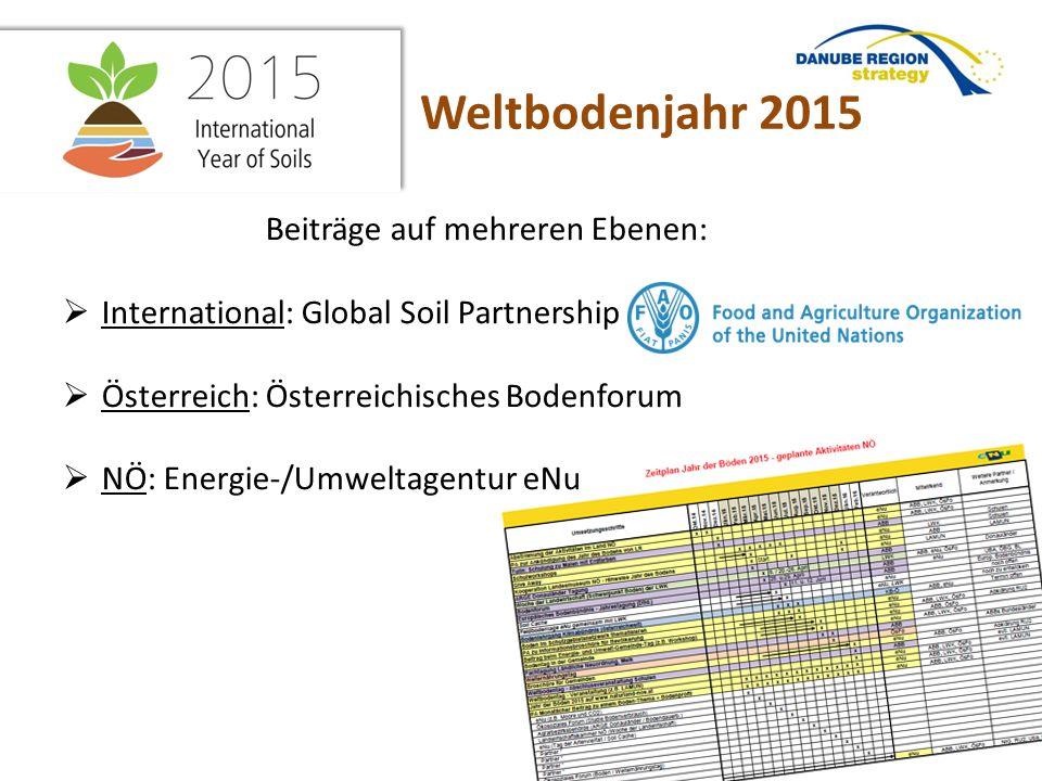Beiträge auf mehreren Ebenen:  International: Global Soil Partnership  Österreich: Österreichisches Bodenforum  NÖ: Energie-/Umweltagentur eNu Weltbodenjahr 2015