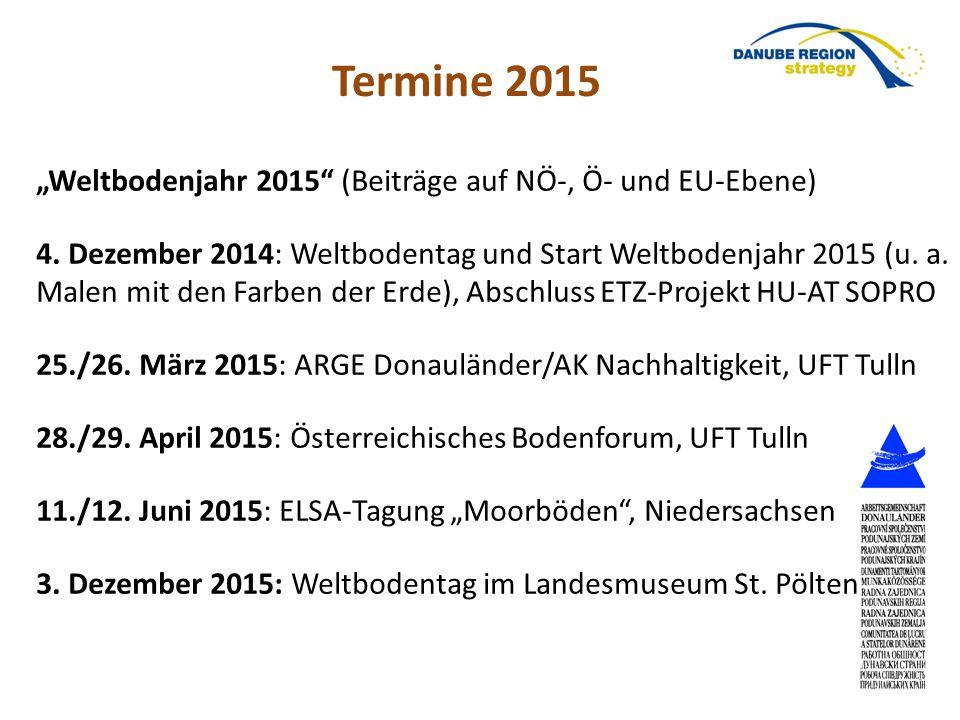 """""""Weltbodenjahr 2015"""" (Beiträge auf NÖ-, Ö- und EU-Ebene) 4. Dezember 2014: Weltbodentag und Start Weltbodenjahr 2015 (u. a. Malen mit den Farben der E"""
