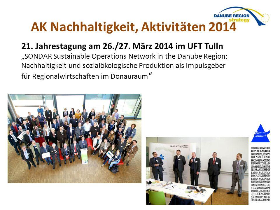 """21. Jahrestagung am 26./27. März 2014 im UFT Tulln """"SONDAR Sustainable Operations Network in the Danube Region: Nachhaltigkeit und sozialökologische P"""