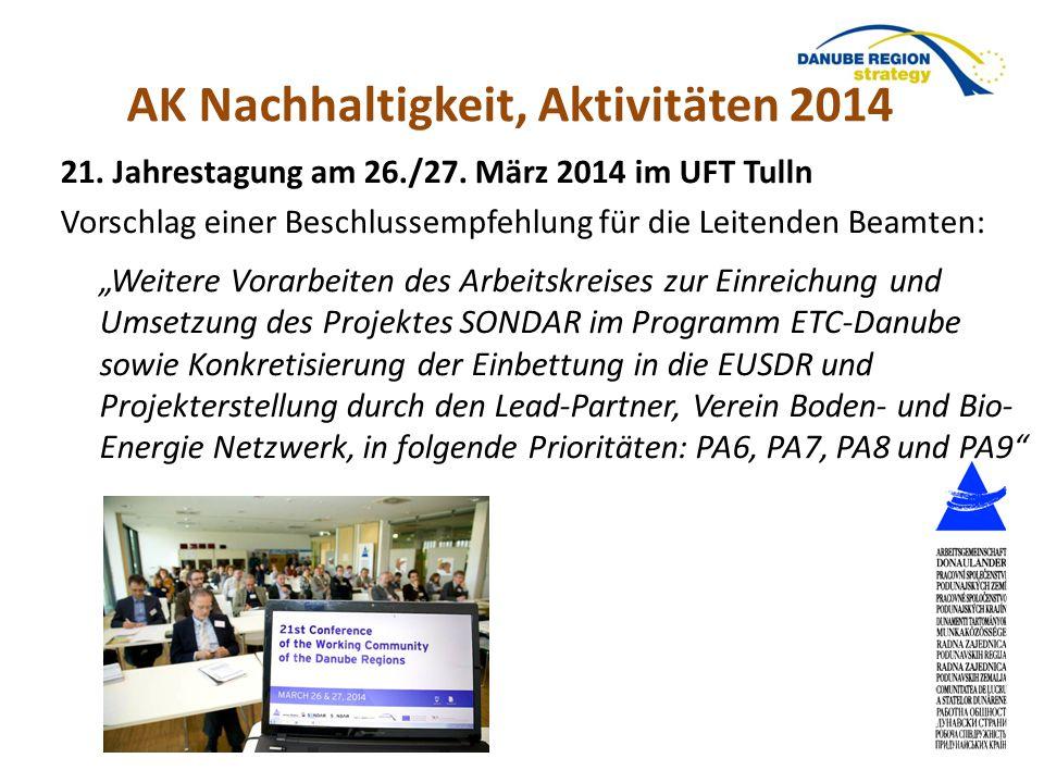 """21. Jahrestagung am 26./27. März 2014 im UFT Tulln Vorschlag einer Beschlussempfehlung für die Leitenden Beamten: """"Weitere Vorarbeiten des Arbeitskrei"""