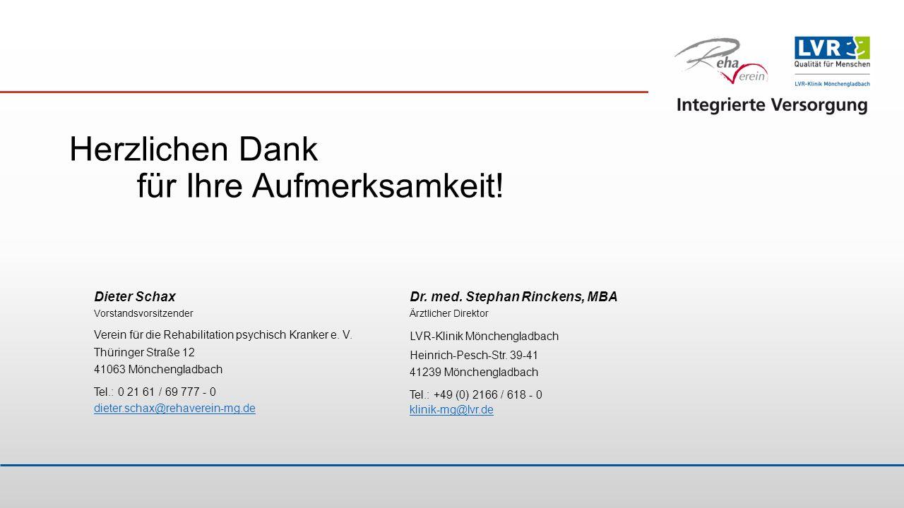 Herzlichen Dank für Ihre Aufmerksamkeit! Dieter Schax Vorstandsvorsitzender Verein für die Rehabilitation psychisch Kranker e. V. Thüringer Straße 12