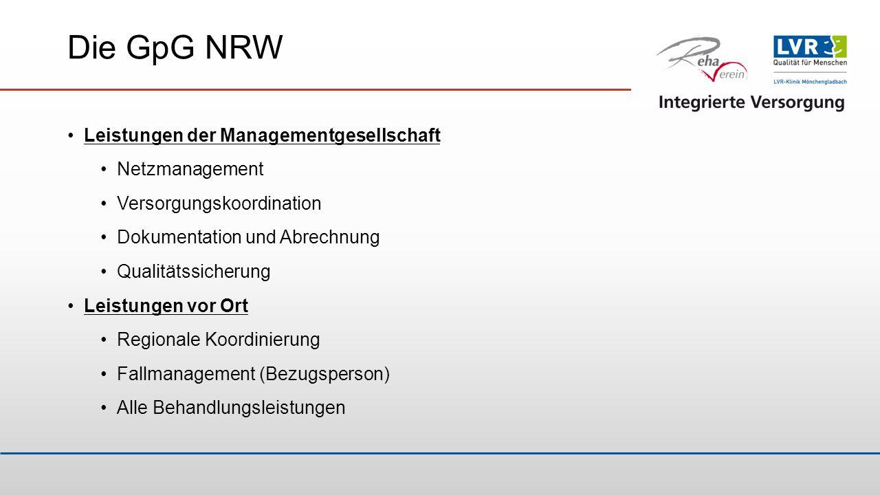 Die GpG NRW Leistungen der Managementgesellschaft Netzmanagement Versorgungskoordination Dokumentation und Abrechnung Qualitätssicherung Leistungen vo