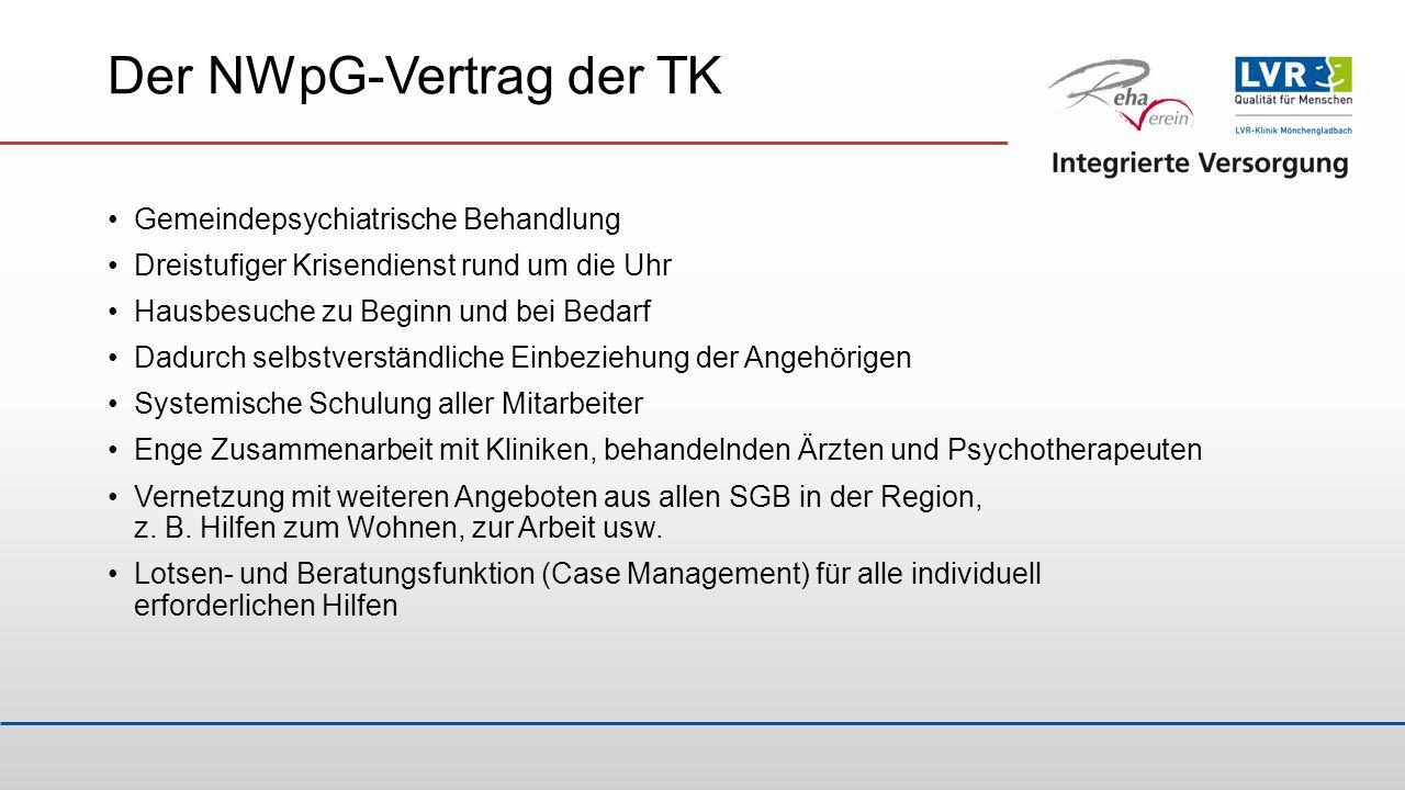 Das Modell Mönchengladbach RehaVerein (RV) ist Gesellschafter der GpG seit 2012 Annahme des Versorgungsauftrags für das Stadtgebiet Mönchengladbach RV kann das Leistungsspektrum nicht allein abdecken Frühe Entscheidung IV in Mönchengladbach nur in Partnerschaft mit der LVR-Klinik Mönchengladbach umzusetzen Partnerschaft bedeutet: auf Augenhöhe