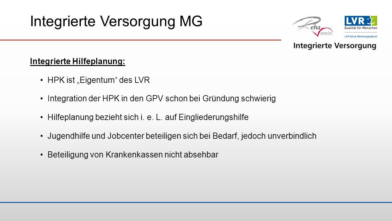"Integrierte Versorgung MG Integrierte Hilfeplanung: HPK ist ""Eigentum"" des LVR Integration der HPK in den GPV schon bei Gründung schwierig Hilfeplanun"
