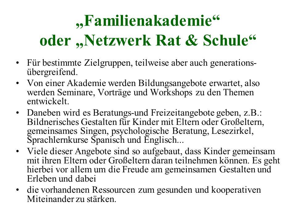 """""""Familienakademie"""" oder """"Netzwerk Rat & Schule"""" Für bestimmte Zielgruppen, teilweise aber auch generations- übergreifend. Von einer Akademie werden Bi"""