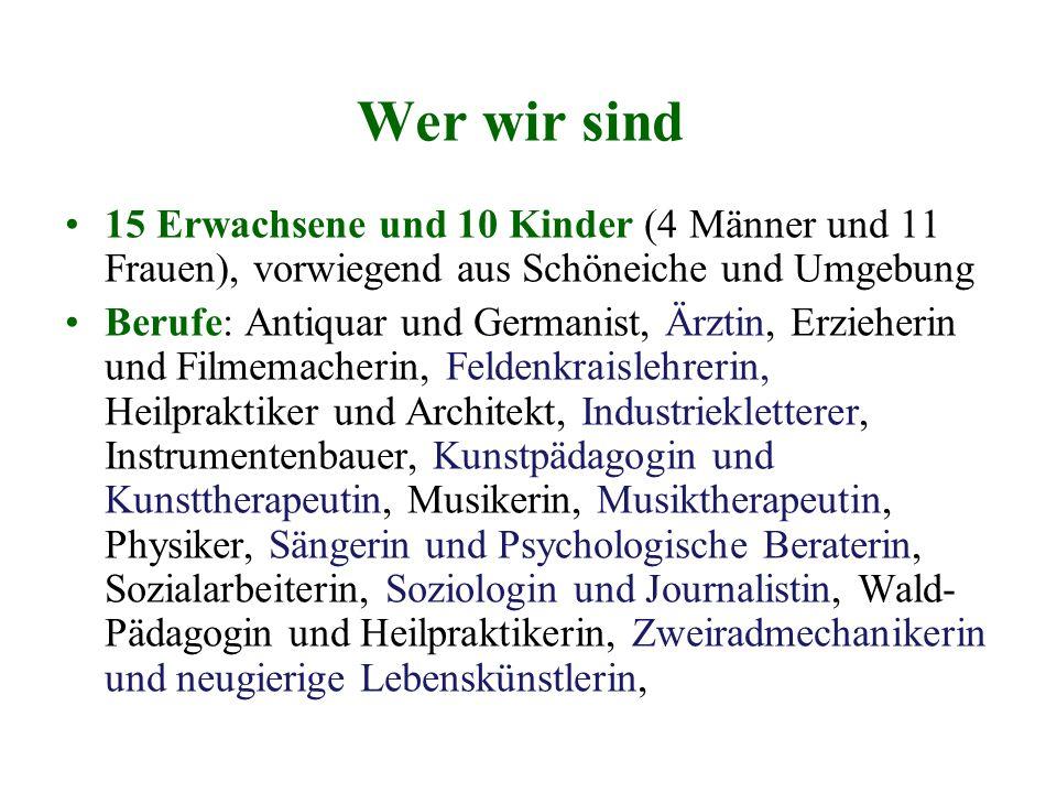 Wer wir sind 15 Erwachsene und 10 Kinder (4 Männer und 11 Frauen), vorwiegend aus Schöneiche und Umgebung Berufe: Antiquar und Germanist, Ärztin, Erzi