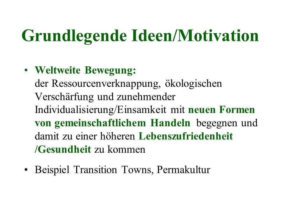 Grundlegende Ideen/Motivation Weltweite Bewegung: der Ressourcenverknappung, ökologischen Verschärfung und zunehmender Individualisierung/Einsamkeit m