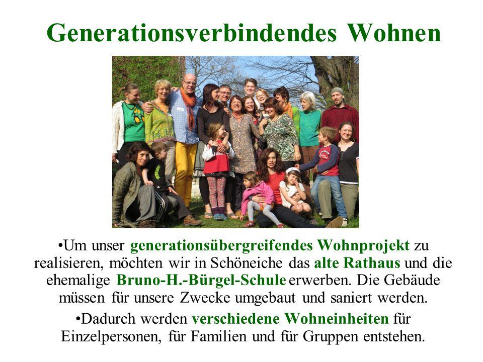 Generationsverbindendes Wohnen Um unser generationsübergreifendes Wohnprojekt zu realisieren, möchten wir in Schöneiche das alte Rathaus und die ehema