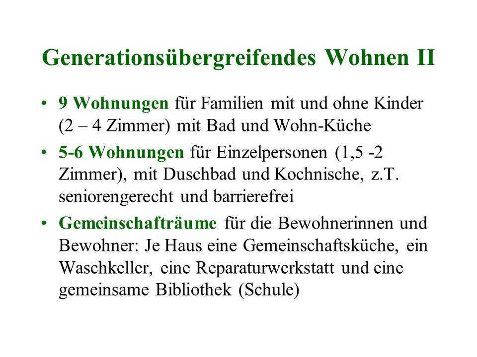Generationsübergreifendes Wohnen II 9 Wohnungen für Familien mit und ohne Kinder (2 – 4 Zimmer) mit Bad und Wohn-Küche 5-6 Wohnungen für Einzelpersone