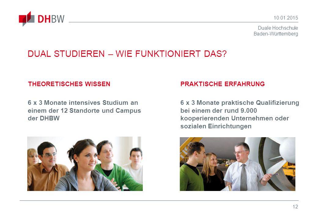 Duale Hochschule Baden-Württemberg 10.01.2015 12 DUAL STUDIEREN – WIE FUNKTIONIERT DAS? THEORETISCHES WISSEN 6 x 3 Monate intensives Studium an einem