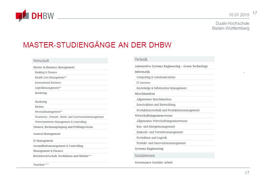 Duale Hochschule Baden-Württemberg 10.01.2015 17 MASTER-STUDIENGÄNGE AN DER DHBW.