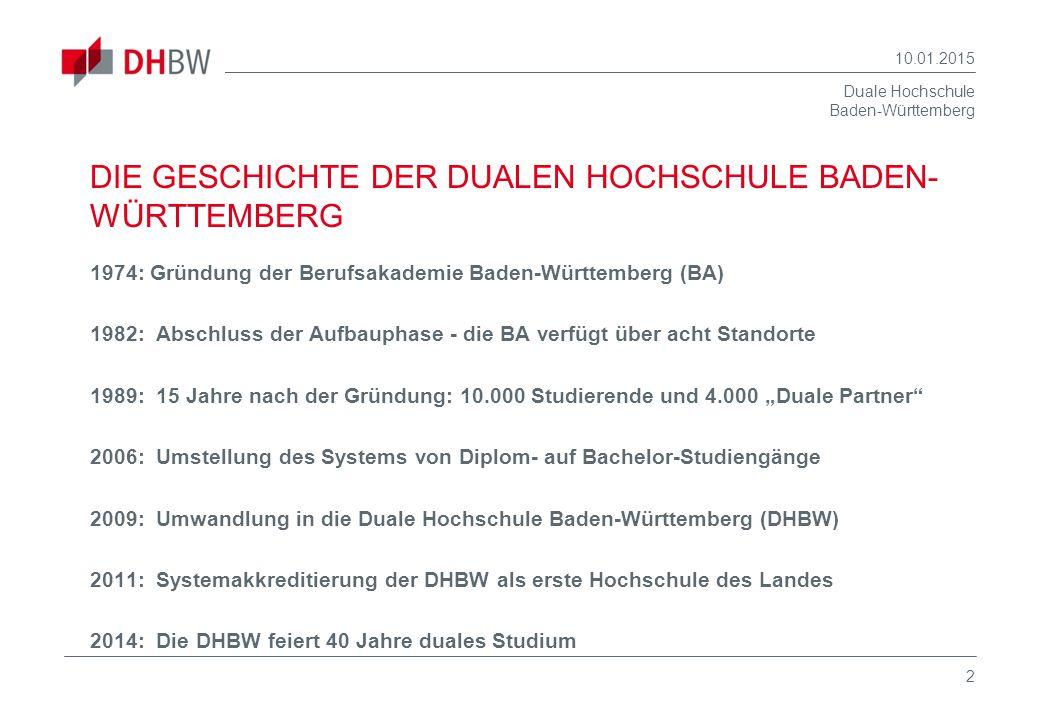 Duale Hochschule Baden-Württemberg 10.01.2015 2 DIE GESCHICHTE DER DUALEN HOCHSCHULE BADEN- WÜRTTEMBERG 1974: Gründung der Berufsakademie Baden-Württe