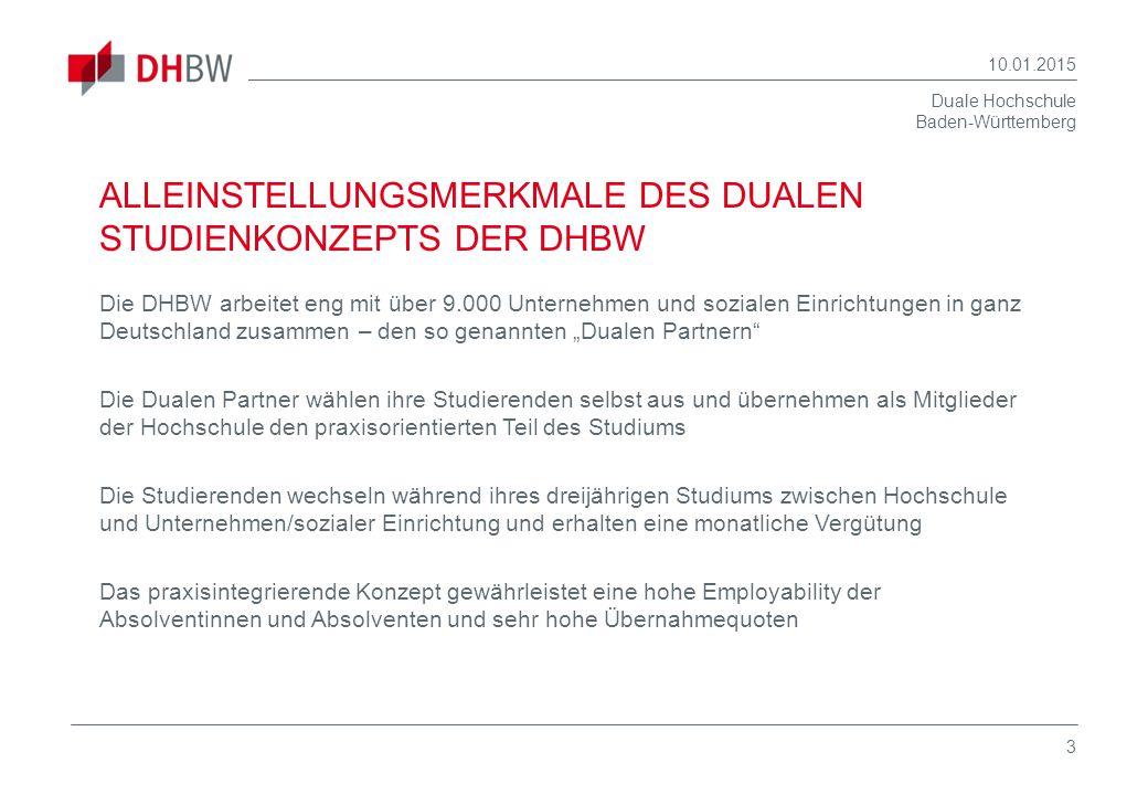 Duale Hochschule Baden-Württemberg 10.01.2015 3 Die DHBW arbeitet eng mit über 9.000 Unternehmen und sozialen Einrichtungen in ganz Deutschland zusamm