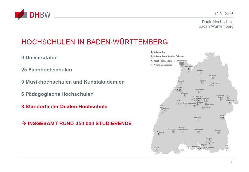 Duale Hochschule Baden-Württemberg 10.01.2015 5 HOCHSCHULEN IN BADEN-WÜRTTEMBERG 9 Universitäten 25 Fachhochschulen 9 Musikhochschulen und Kunstakadem