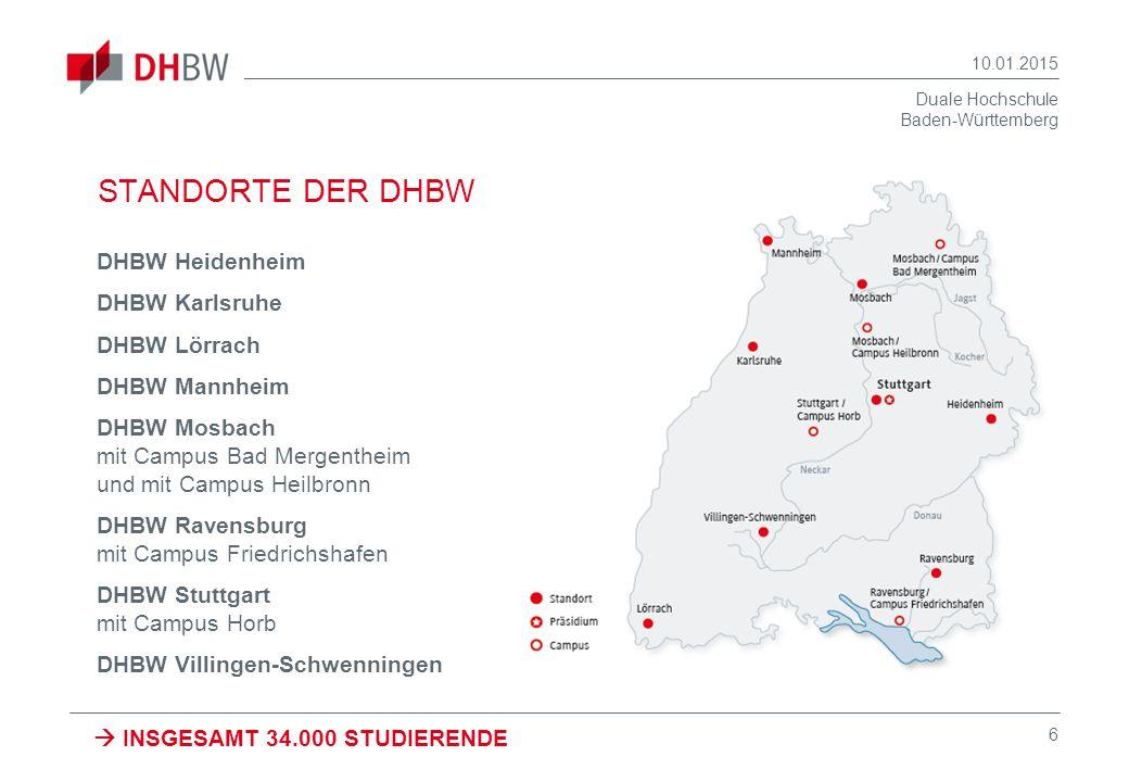 Duale Hochschule Baden-Württemberg 10.01.2015 6 STANDORTE DER DHBW DHBW Heidenheim DHBW Karlsruhe DHBW Lörrach DHBW Mannheim DHBW Mosbach mit Campus B